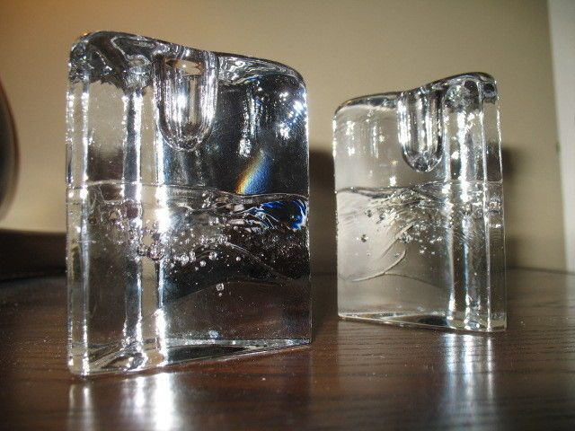 "2 Iittala Finland Arkipelago 3 1/2"" Triangular Candlesticks or Candle Holders"