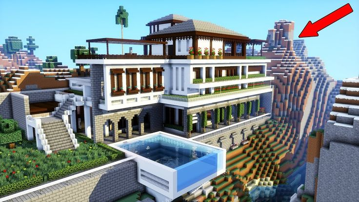 Minecraft  How To Build A Modern Mansion    Modern Cliff  Mountain House  2018