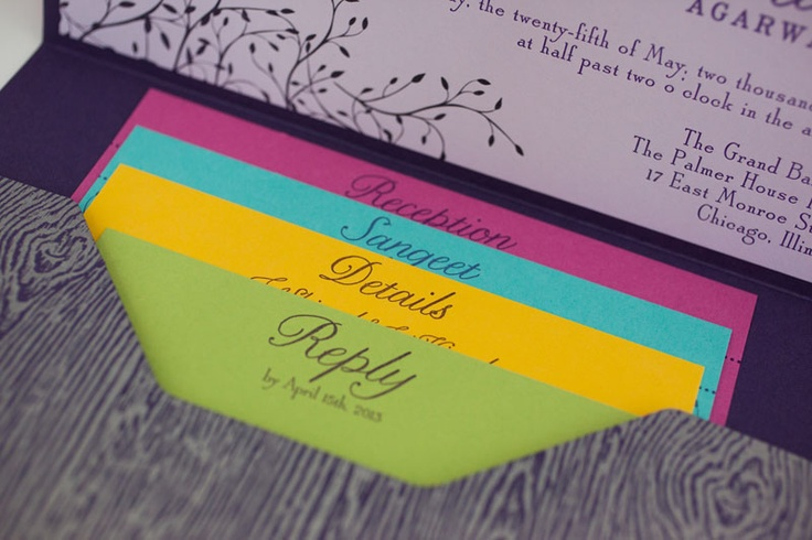 Color Me Happy: #colorful #letterpress #pocketfold #invitation for an #indian #wedding by Magnificent Milestones, www.magnificentmilestones.com, #magnificentmilestones
