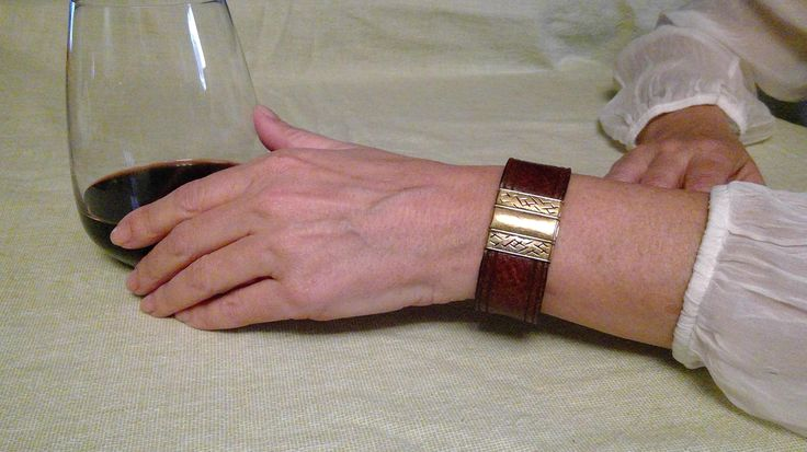 Brown Leather Bracelet with Gold Clasp by BrandedCreed on Etsy