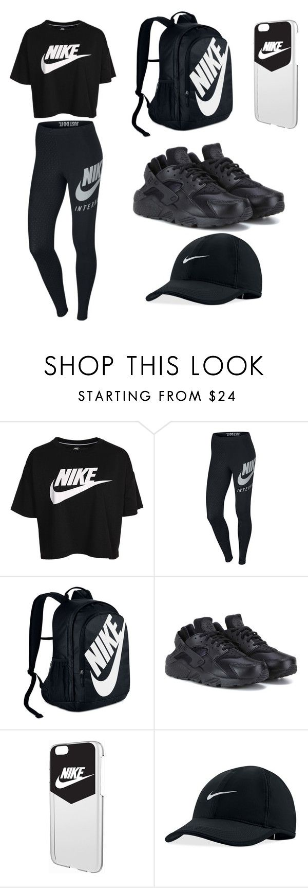 """""""Nike black"""" by lilkaykay2003 ❤ liked on Polyvore featuring NIKE"""