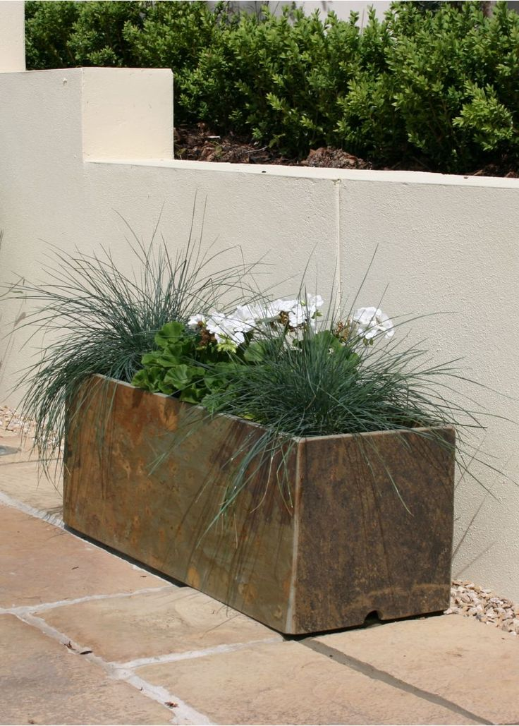 Natural slate trough style garden and patio planter