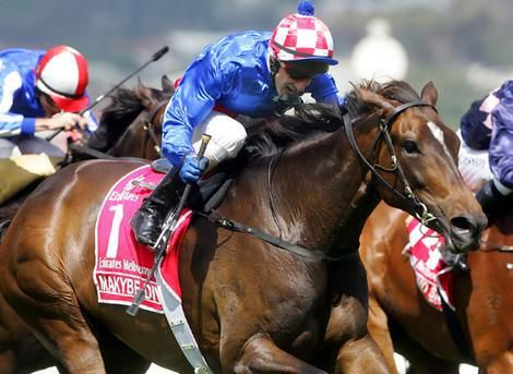 Glen Boss rides Makybe Diva to her third Melbourne Cup in 2005, after which she retired.