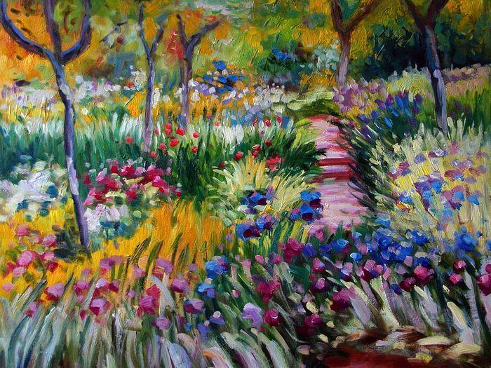 Monet's plantingsFlower Painting, Monet Painting, Painting Art, Claude Monet, Gardens Paths, Colors Palettes, Impressionist Painting, Iris, Claudemonet
