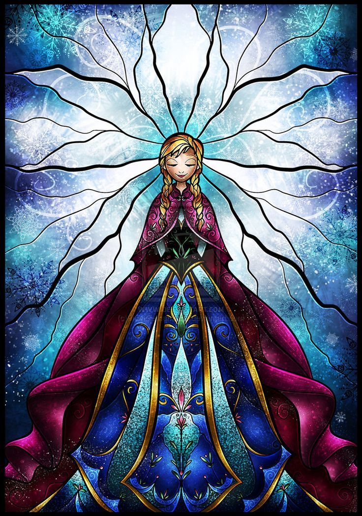 The Little Sister by mandiemanzano Disney Princess Anna Frozen Elsa's little sister stained glass style.