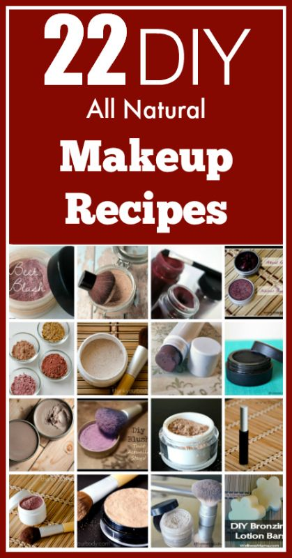 22 all natural DIY makeup recipes, from foundation and powders to even mascara and liners.