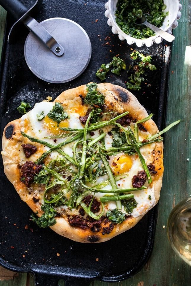 Save this healthy recipe to make Springtime Pizza With Chipotle Romesco, Eggs, and Shaved Asparagus Salad.
