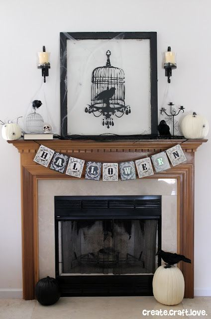 Halloween Mantel-ooo this is really cool...black and white..need to get or make a banner I think