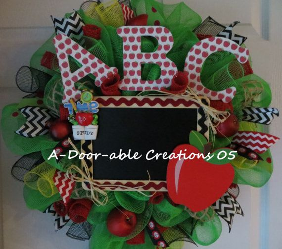 It's Time to Study..Teacher Mesh Wreath by ADoorableCreations05, $65.00