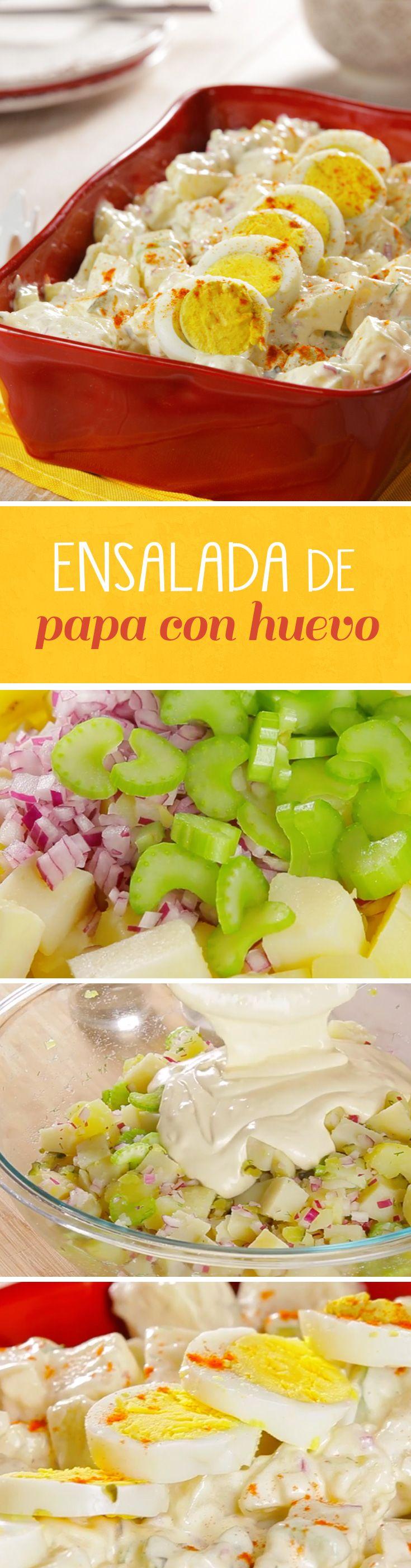 Ensalada económica de papa con huevo cocido. Una receta perfecta para #cuaresma sin carne y muy rendidora para fiestas de cumpleños o reuniones familiares.