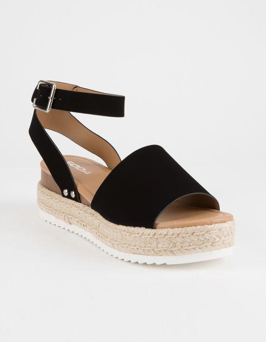 ca932862439 SODA Topic Black Womens Espadrille Flatform Sandals