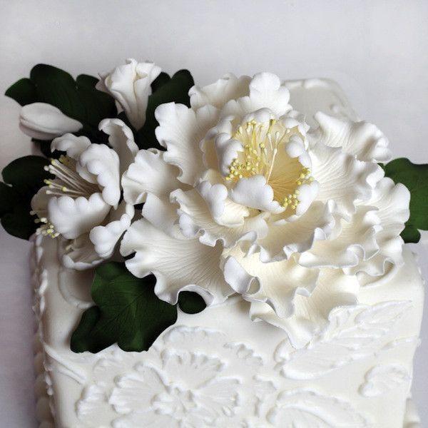 White Gumpaste Sugarflower Peony Sprays and leaves spray.  Cake topper perfect for cake decorating wedding cakes and birthday cakes.  Handmade sugarflower Peonies. | www.CaljavaOnline.com  #caljava