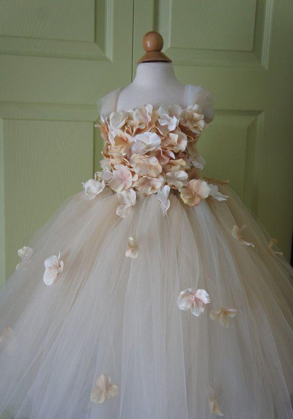 Cortège fille robe robe tutu de Champagne robe Champagne, haut de la fleur, haut Hortensia, tutu enfant robe cascade fleurs