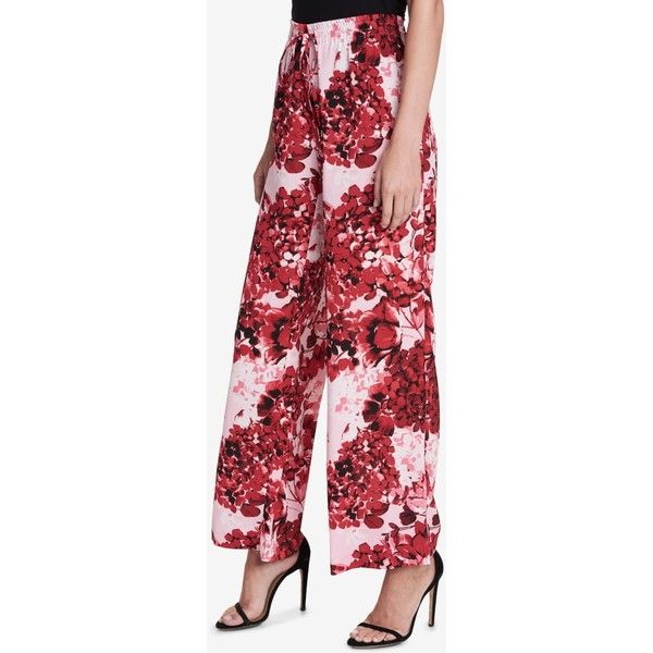 Calvin Klein Printed Wide-leg Pants ($80) ❤ liked on Polyvore featuring pants, light pastel red, calvin klein pants, red wide leg trousers, calvin klein, pastel pants and calvin klein trousers