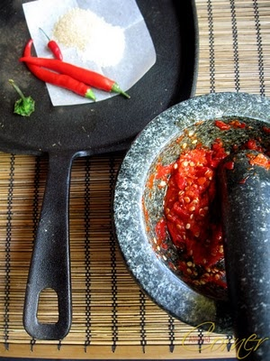 recipe on how to make Sambal chili sauce, i go through insane amounts of the stuff, i bet if i made my own it would be even better.   note to self, grow more peppers this summer!