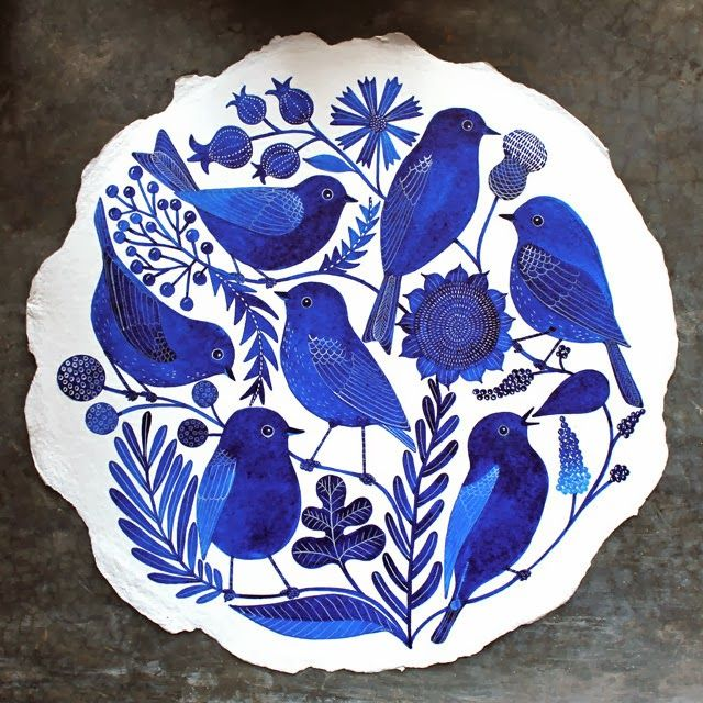 Blue birds on white plate