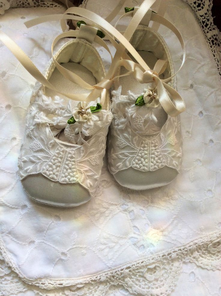 Organdy appliqué  shoes for Christening !