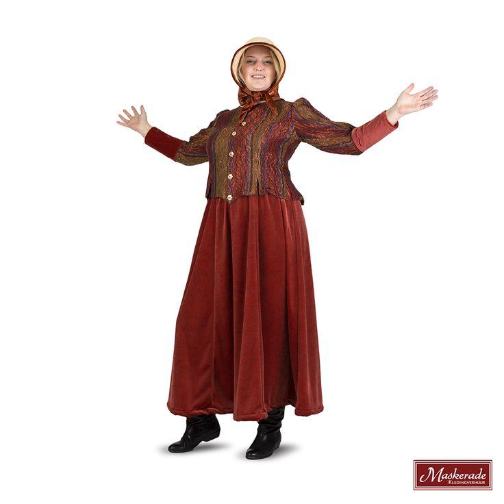 Dit Dickenskostuum bestaat uit een donkerrode fluwelen rok, met bijpassend donkerrood glanzende damescolbert. Dit kostuum is uniek, er is er maar 1 van. De bijpassende hoed kost 4 euro extra.