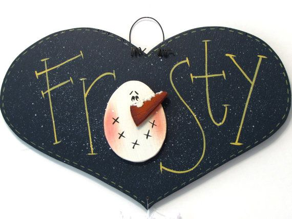 Frosty Snowman Heart Shaped Sign, Handpainted, Home Decor, Wall Art