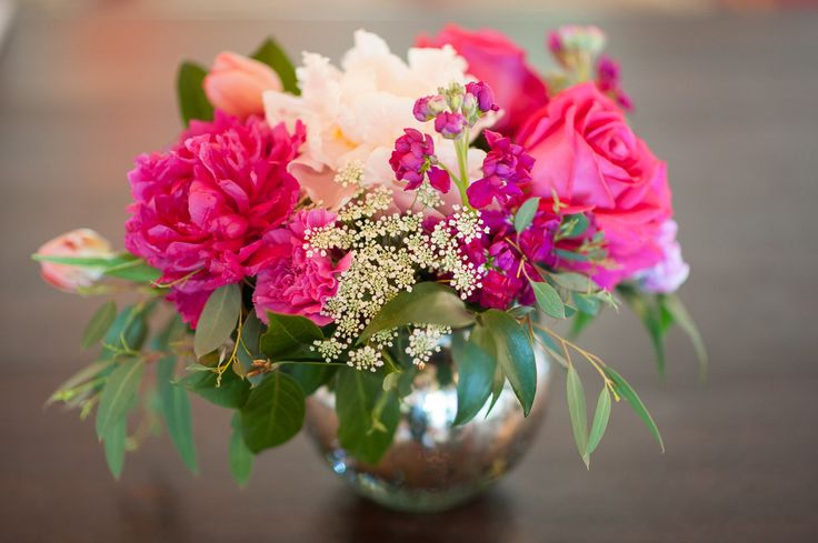 Hot pink and blush peonies, fuchsia stock, queen Ann's lace and eucalyptus in silver Mercury glass vase!  Emlily Floral | Fuchsia and Navy Montecito Wedding
