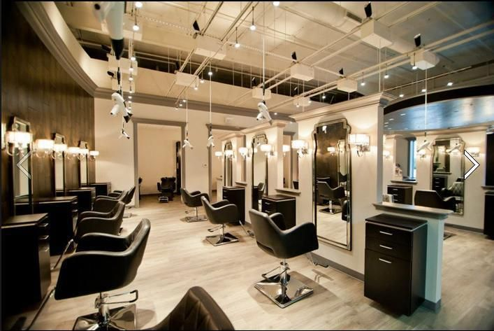 Open Ceiling Salon Hanging Blow Dryers Chic Clean Design