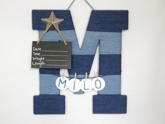 Striped Letter M Hospital Door Hanging Girl or Boy by LauraLizzies