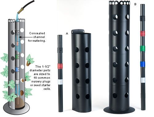 Flower Towers - Gardening (make this with PVC pipe and smaller pvc pipe with holes for water.)