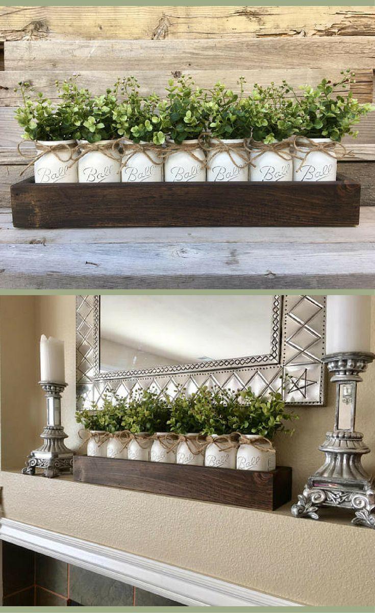 Best 25 coffee table tray ideas on pinterest coffee table mason jar decor mason jar centerpiece with boxwood tray with mason jars coffee geotapseo Gallery