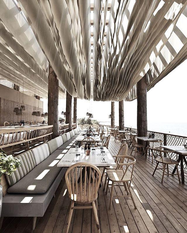 The Bouni Beach Bar   Costa Navarino, Greece #bardesign #cafedesign #restaurantdesign