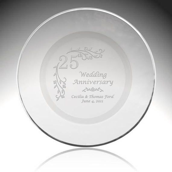 Engraved 25th Anniversary White Porcelain Plate With Silver Etsy In 2020 Wedding Anniversary Gifts 25th Anniversary Gifts Homemade Anniversary Gifts