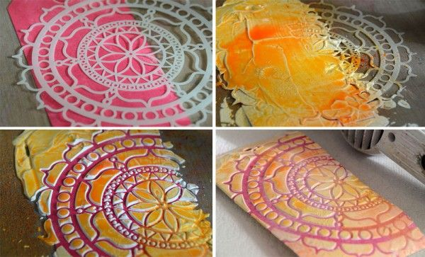 photo tutorial ... stencil technique ... stencil over painted surface ... thick white paint through stencil ... spraying on colors with stencil in place ... luv it!