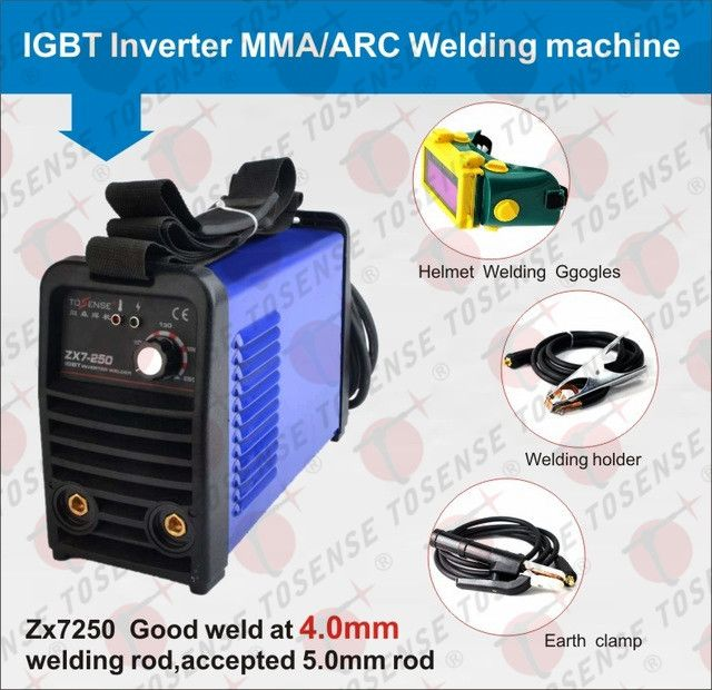 2016 free shipping ZX7-250 220v 250A MMA welder ARC welding machine 4.0mm welding rod accessories with helmet & clamp & handle #Affiliate