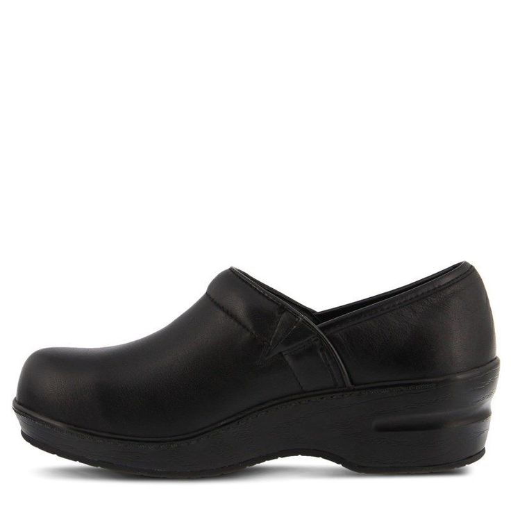 Spring Step Women's Selle Wide Slip Resistant Clog Shoes (Black Leather) - 6.0 W
