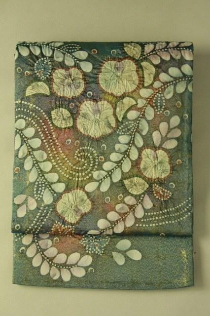 Fukuro obi / 錆納戸×金地 辻が花柄 お太鼓柄袋帯 #Kimono #Japan http://global.rakuten.com/en/store/aiyama/