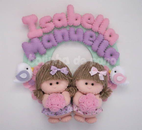 Enfeite Porta Maternidade Bonecas Gêmeas