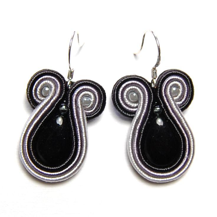 Soutache earrings black gray jewelry handmade shop buy gift for sale orecchini pendientes oorbellen Ohrringe brincos örhängen øredobber by SoutacheFlowOn on Etsy