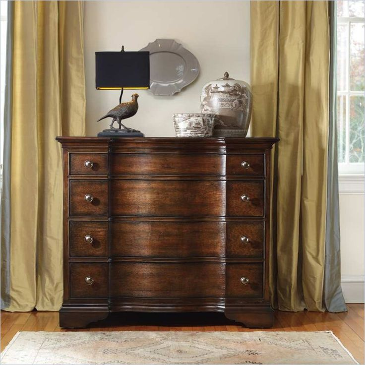 Hooker Furniture Estate Four Drawer Bow Front Chest In Mahogany