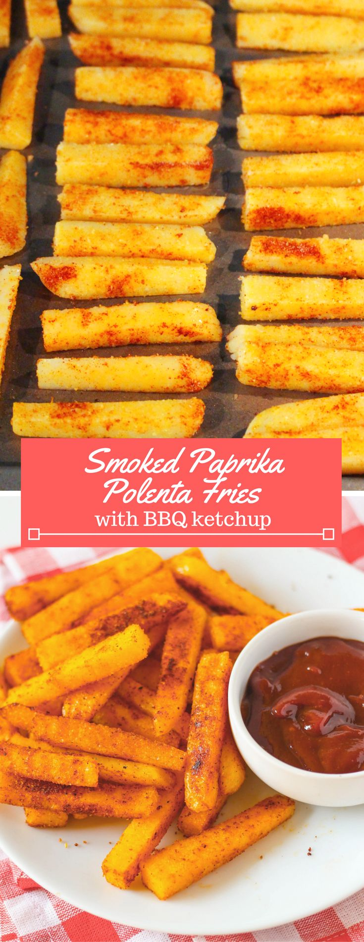 Slicing polenta into fry shapes is easy and they taste great toasted in the oven! Season with smoked paprika for an awesome, smoky flavor. Mix a BBQ ketchup to go with!