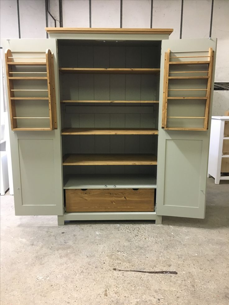 A beautiful single drawer Larder made to order. Painted in F&B Hardwick White. www.cobwebsfurniture.co.uk