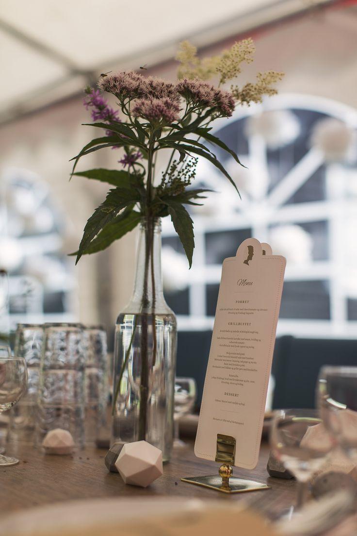 WEDDING TABLE - decoration - flowers - tent - gold - diy diamonds - paper gems - concrete - menu card - silhouette