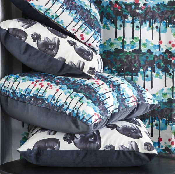 Cumulus Living Forest Walk and Jeanie cushions and fabrics. See it at Grand Designs Melbourne