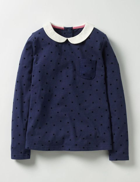Collared Jersey Top (Navy/Black Star)