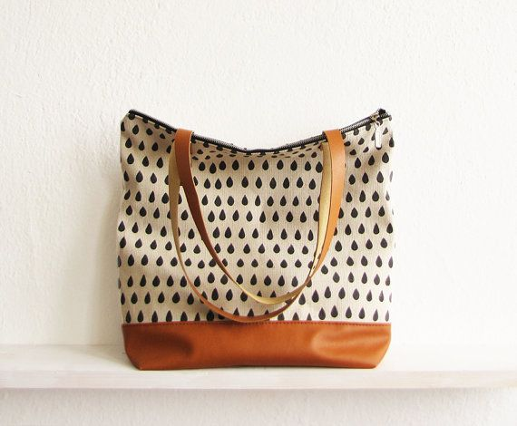 Large Tote bag Canvas and vegan leather  Hand stamped by byMART