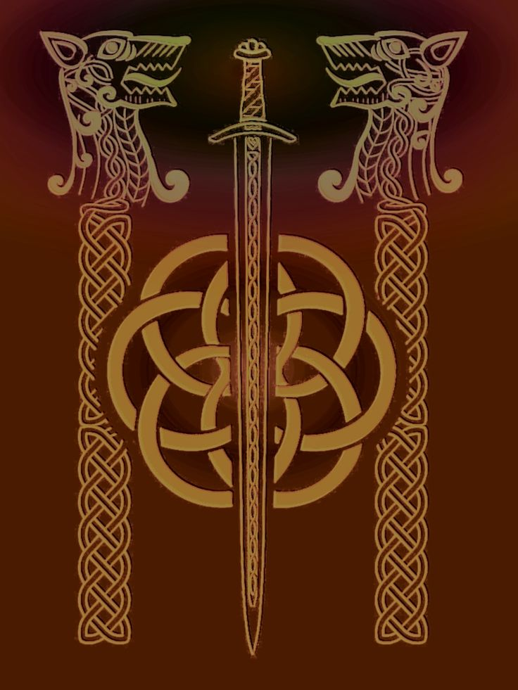 Viking spirited art: Odin's sword, guarded by his wolves  Geri, and Freki.