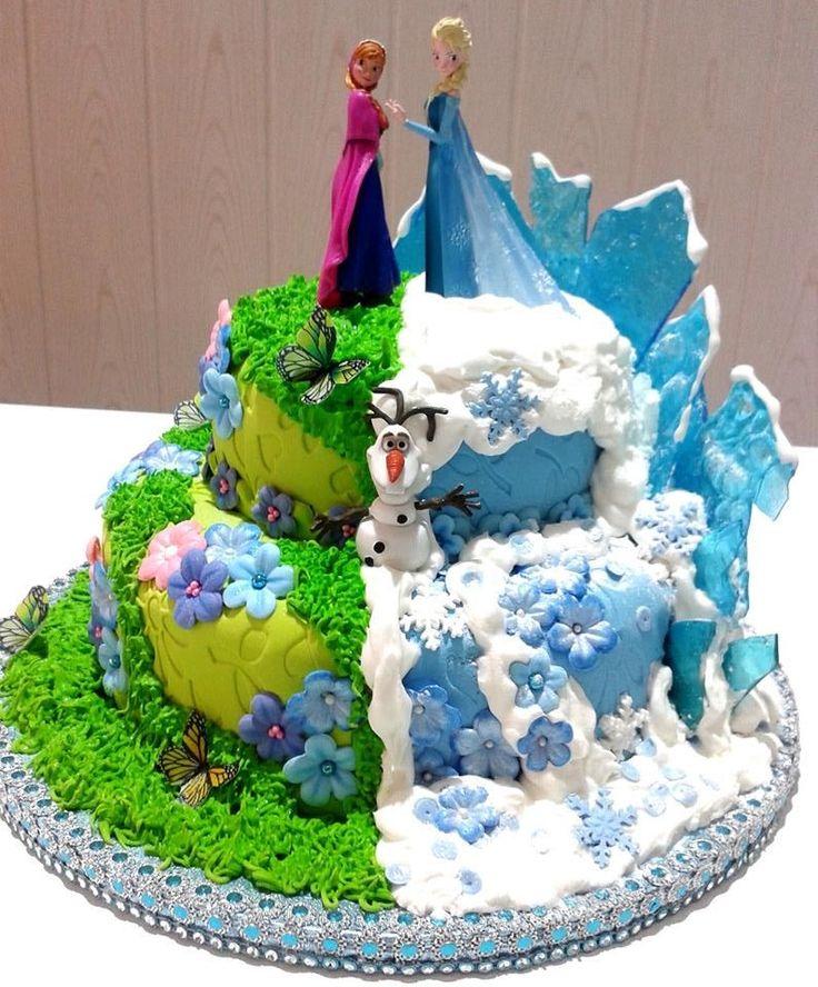 Preciosa tarta para celebración de cumpleaños Frozen