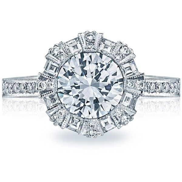 Tacori 2643RD Simply Tacori Pave Halo Channel Set Engagement Setting ($4,350) ❤ liked on Polyvore featuring jewelry, rings, channel set ring, tacori jewelry, pave jewelry, tacori rings and channel setting ring