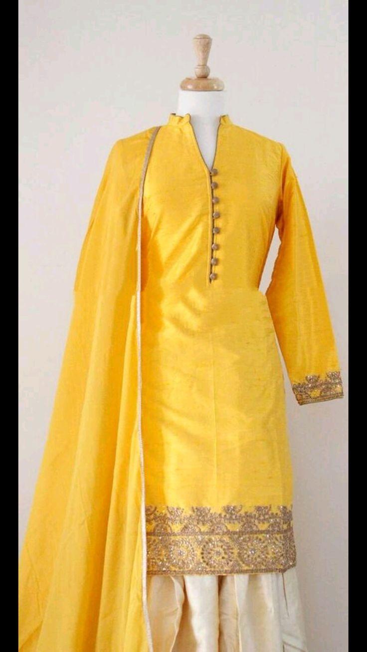 Graceful Party Wear Yellow #Suit in Raw Silk @http://www.maalpani.com/latest-arrivals.html