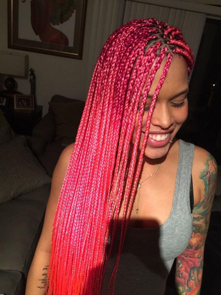 Pink. Medium size box braids. Long.