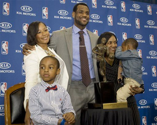 LeBron and his family at the University of Akron. James had just received his NBA MVP award