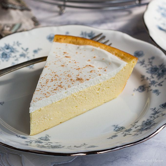 My Nana's Cheese Pie is a great low carb cheesecake with no crust. This easy recipe is a diabetic friendly dessert & made sugar-free with stevia & Swerve.